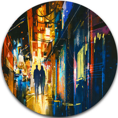 Design Art Couple Walking in an Alley Cityscape Metal Artwork