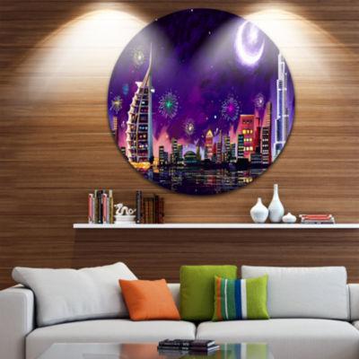 Design Art Eid Celebration in Dubai Disc CityscapeDigital Circle Metal Wall Art