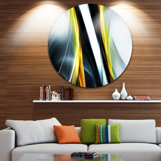 Design Art Fractal Lines Yellow White Abstract Circle Metal Wall Art