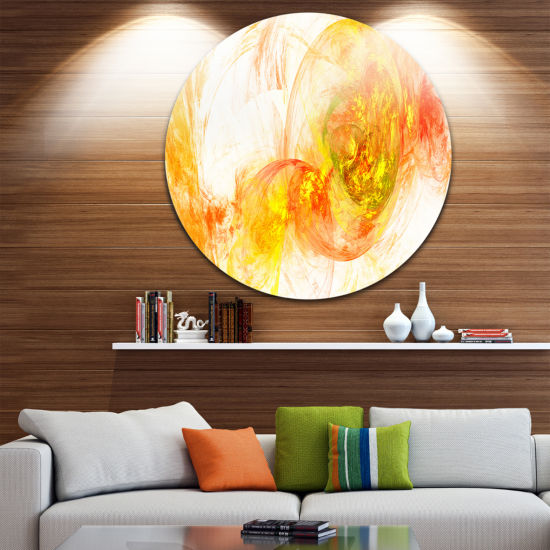 Design Art Colored Smoke Yellow Abstract Circle Metal Wall Art