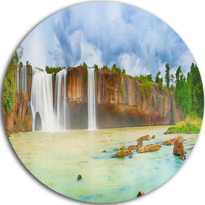 Design Art Dry Nur Waterfall Panorama Disc Photography Circle Metal Wall Art