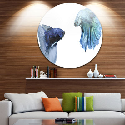 Design Art Fighting Fish Animal Circle Metal WallArt