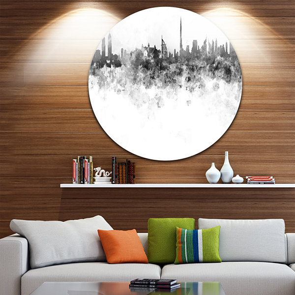 Design Art Dubai Skyline Disc Cityscape Metal Artwork Print