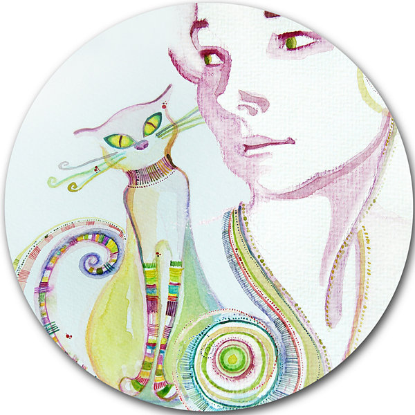 Design Art Cute Girl with Cat Disc Abstract Portrait Circle Metal Wall Art