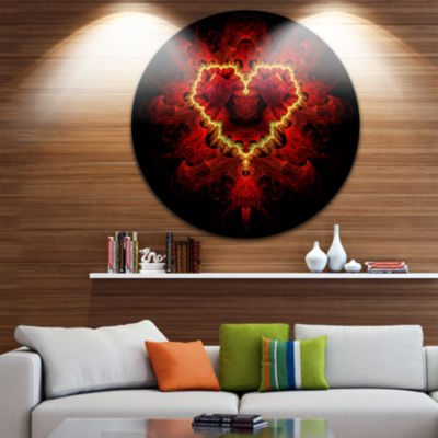 Design Art Fractal Red Heart Texture Abstract Round Circle Metal Wall Decor Panel