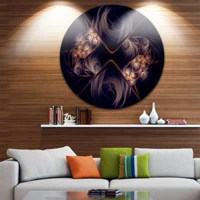 Design Art Dark Gold Fractal Flower Pattern Abstract Round Circle Metal Wall Decor Panel