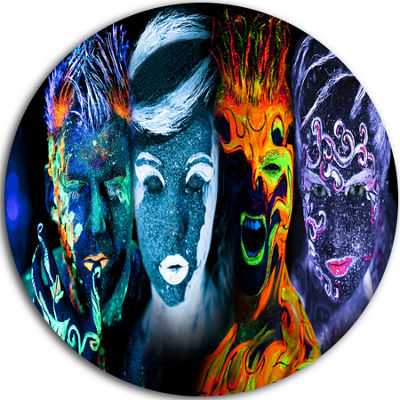 Design Art Earth Fire Air and Water Contemporary Portrait Circle Metal Wall Art