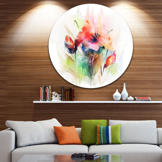 Design Art Floral Watercolor Illustration Disc Abstract Floral Circle Metal Wall Arts