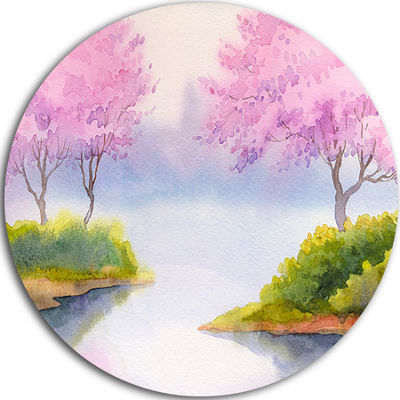 Design Art Flowering Trees Over River Landscape Metal Circle Wall Art