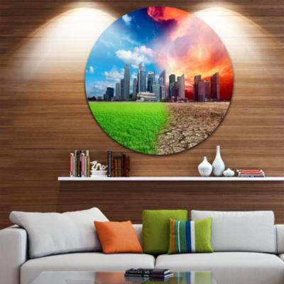 Design Art Global Warming Disc Large Landscape Circle Metal Wall Art