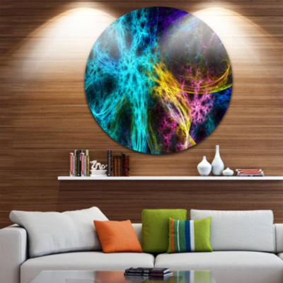Design Art Glowing Abstract Fireworks Abstract Round Circle Metal Wall Decor