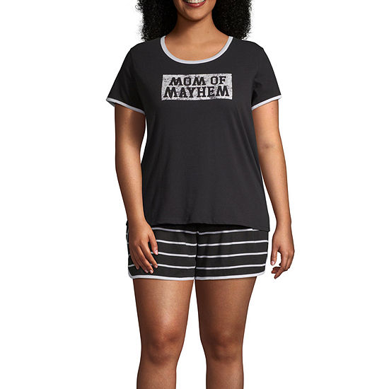 City Streets Womens Short Sleeve Mommy and Me 2-pc Shorts Pajama Set