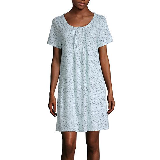 Adonna Womens Nightgown Short Sleeves Scoop Neck