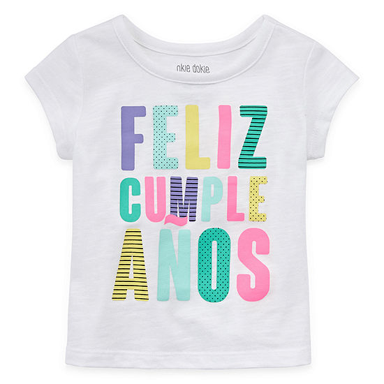 Okie Dokie Happy Birthday Baby Girls Baby 0-24 Mos Round Neck Short Sleeve Graphic T-Shirt