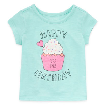 Okie Dokie Happy Birthday Girls Round Neck Short Sleeve T-Shirt