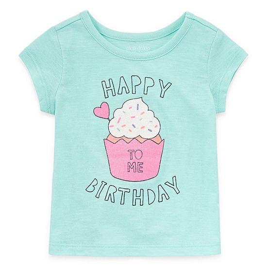 Okie Dokie Happy Birthday Girls Round Neck Short Sleeve Graphic T-Shirt - Baby