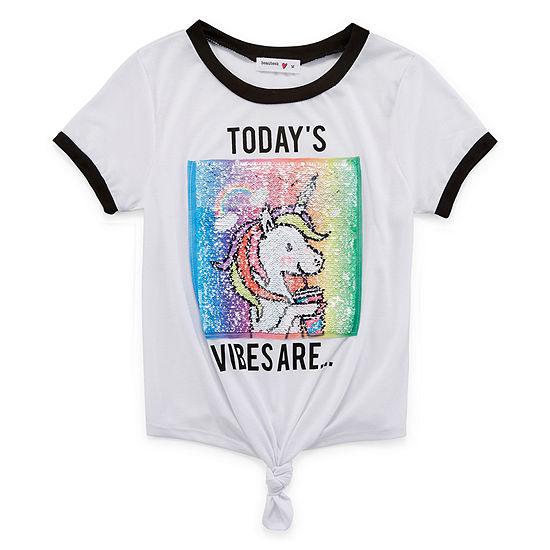 Beautees Crew Neck Short Sleeve Graphic T-Shirt - Big Kid Girls