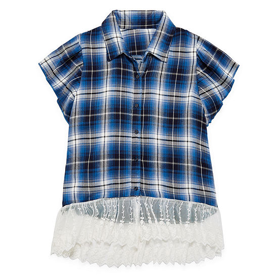 Beautees Girls Short Sleeve Lace Trim Button-Front Shirt Big Kid