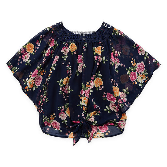 b41ad489c9555 Beautees Round Neck Elbow Sleeve Blouse - Big Kid Girls - JCPenney