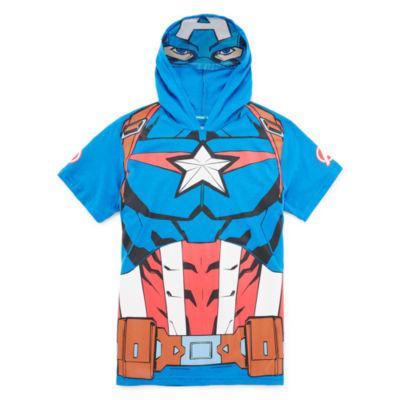Boys Hooded Neck Short Sleeve Avengers Graphic T-Shirt Preschool / Big Kid