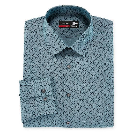 JF J.Ferrar - Slim Easy-Care Solid Mens Spread Collar Long Sleeve Stretch Dress Shirt