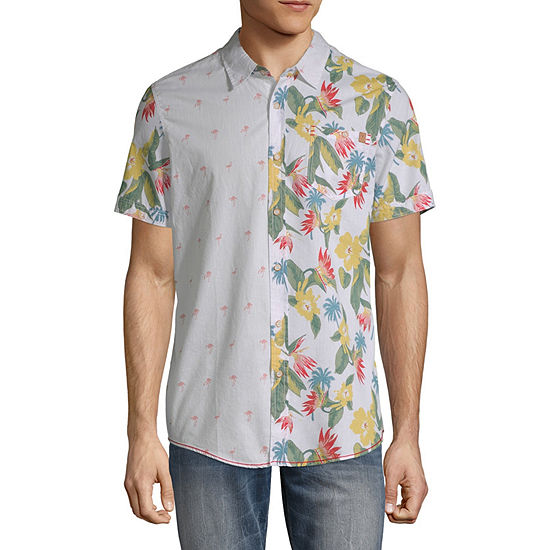 i jeans by Buffalo Mens Short Sleeve Floral Button-Down Shirt