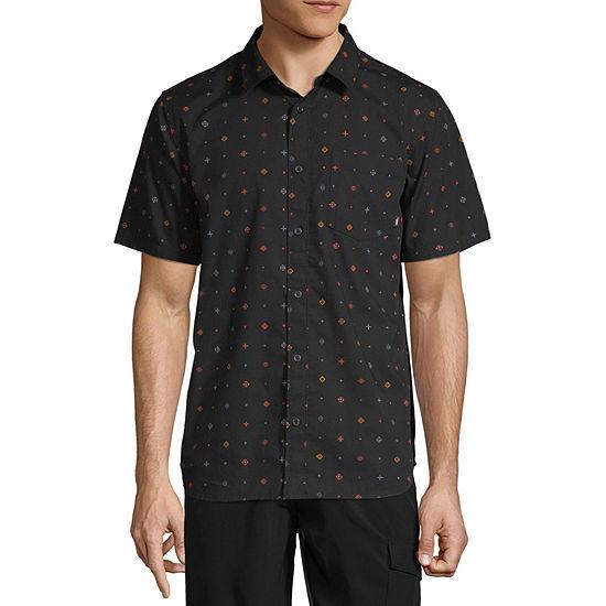 Vans Mens Short Sleeve Polka Dot Button-Front Shirt