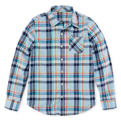 Arizona Boys Long Sleeve Stretch Button-Front Shirt