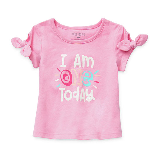 Okie Dokie I Am One Today Baby Girls Round Neck Short Sleeve Graphic T-Shirt