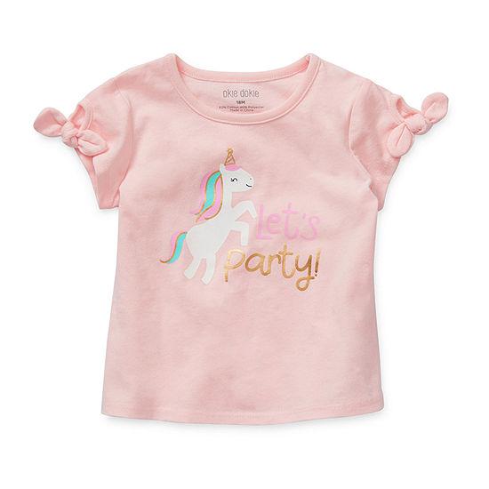 Okie Dokie Girls U Neck Short Sleeve Graphic T-Shirt - Baby