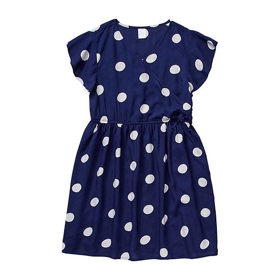 Peyton & Parker Little & Big Girls Short Sleeve Wrap Dress