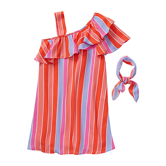 My Michelle Big Girls Short Sleeve One Shoulder Sleeve Shift Dress