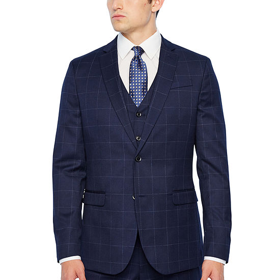 JF J. Ferrar Navy Windowpane Slim Fit Stretch Suit Separates