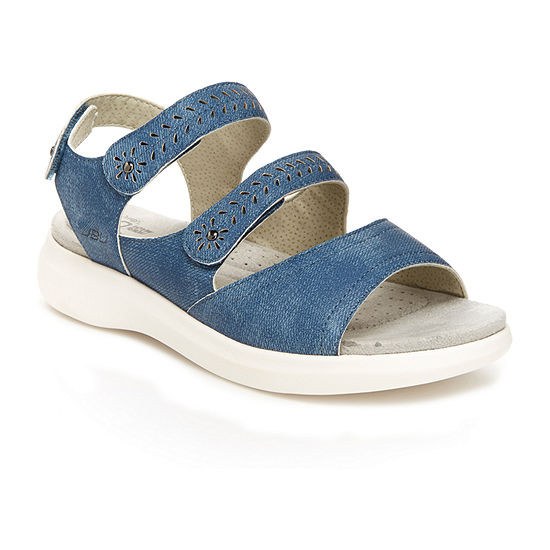 J Sport By Jambu Mabel Triple Velcro Strap Womens Adjustable Strap Footbed Sandals