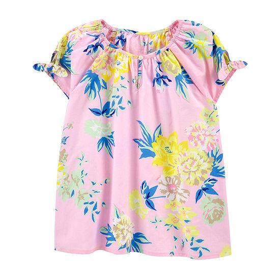 Oshkosh Little Kid Girls Round Neck Long Sleeve Blouse