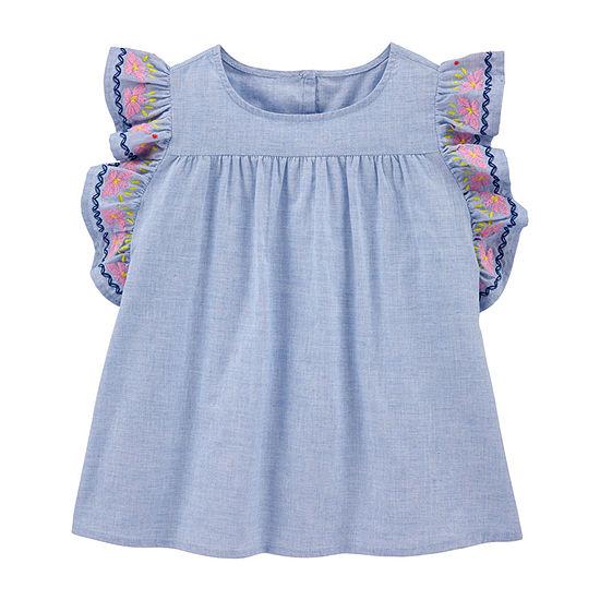 Oshkosh Little Kid Girls Round Neck Short Sleeve Blouse