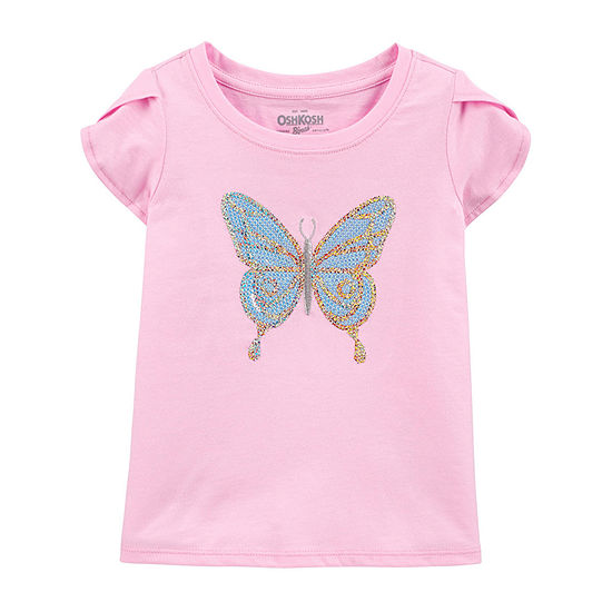 Oshkosh-Toddler Girls Round Neck Short Sleeve Graphic T-Shirt