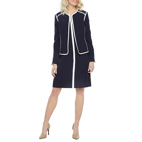 Black Label by Evan-Picone Long Sleeve Contrast Trim Suit Jacket or Sleeveless Contrast Trim Sheath