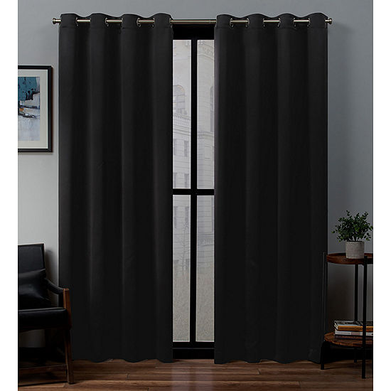 Exclusive Home Curtains Sateen Blackout Grommet-Top Single Curtain Panel