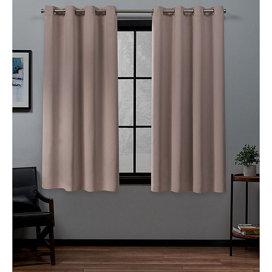 Exclusive Home Curtains Academy Energy Saving 100% Blackout Grommet-Top Set of 2 Curtain Panel