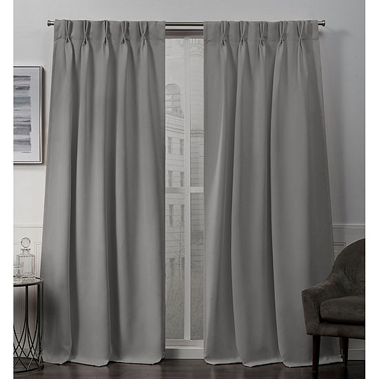 Exclusive Home Curtains Sateen Double Pinch Pleat Energy Saving Blackout Pinch Pleat Set of 2 Curtain Panel