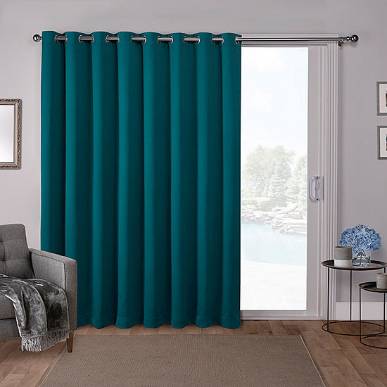 Exclusive Home Curtains Sateen Patio Energy Saving Blackout Grommet-Top Single Patio Door Curtain