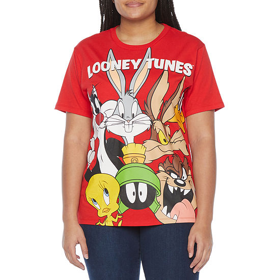 Juniors Womens Crew Neck Short Sleeve Looney Toons Graphic T-Shirt