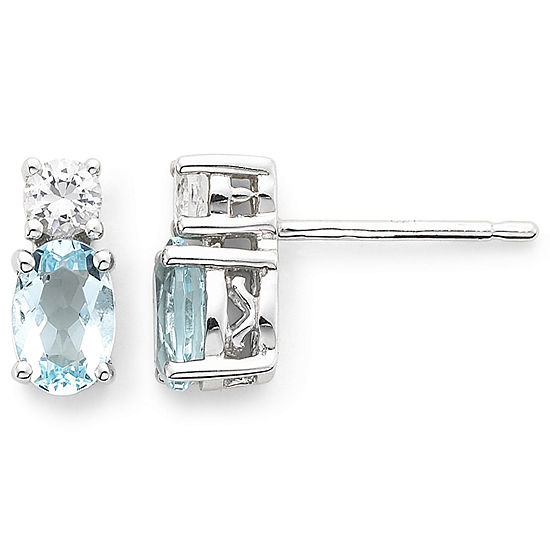 Simulated Aquamarine Lab Created White Shire Earrings