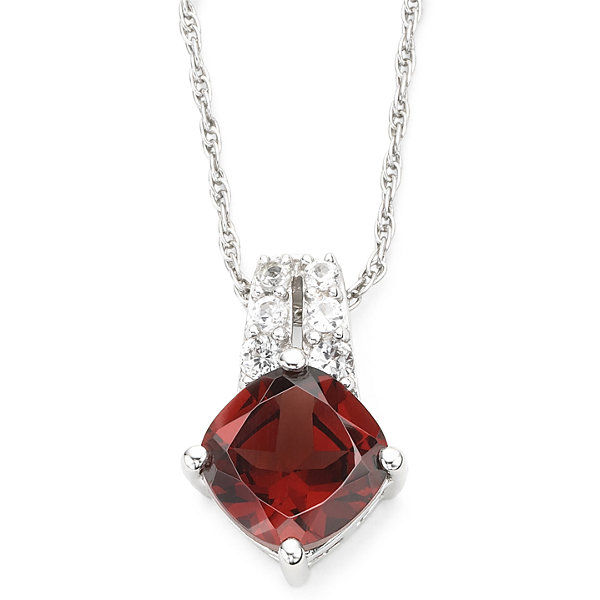 Genuine Garnet & Lab-Created White Sapphire Pendant Sterling Silver Necklace