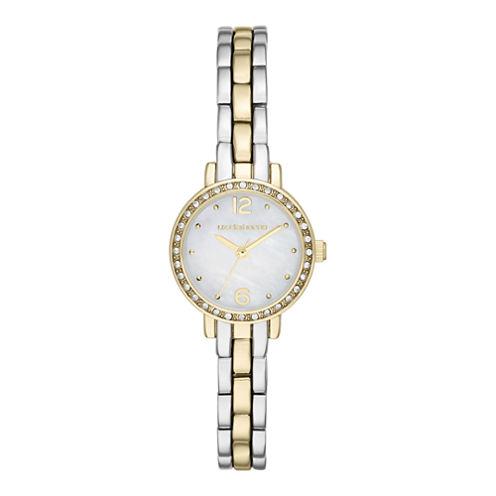 Liz Claiborne® Womens Round Face Mini Glitz Watch