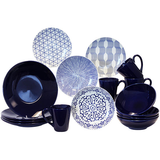 Baum Blue White 16 pc Dinnerware Set