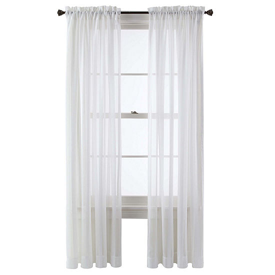 Queen Street Sheer Rod-Pocket Single Curtain Panel