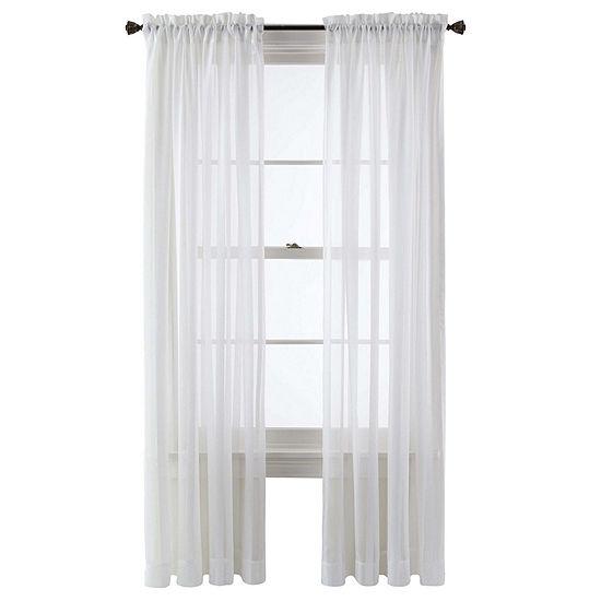 Queen Street Sheer Rod-Pocket Single Curtain Panel