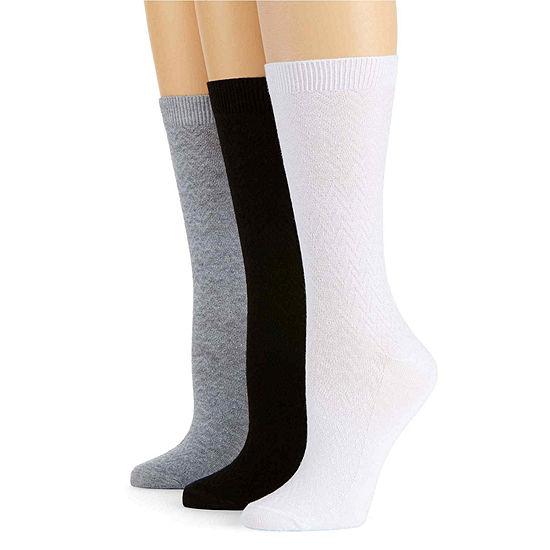 Mixit 3 Pack Chevron Textured Crew Socks- Womens